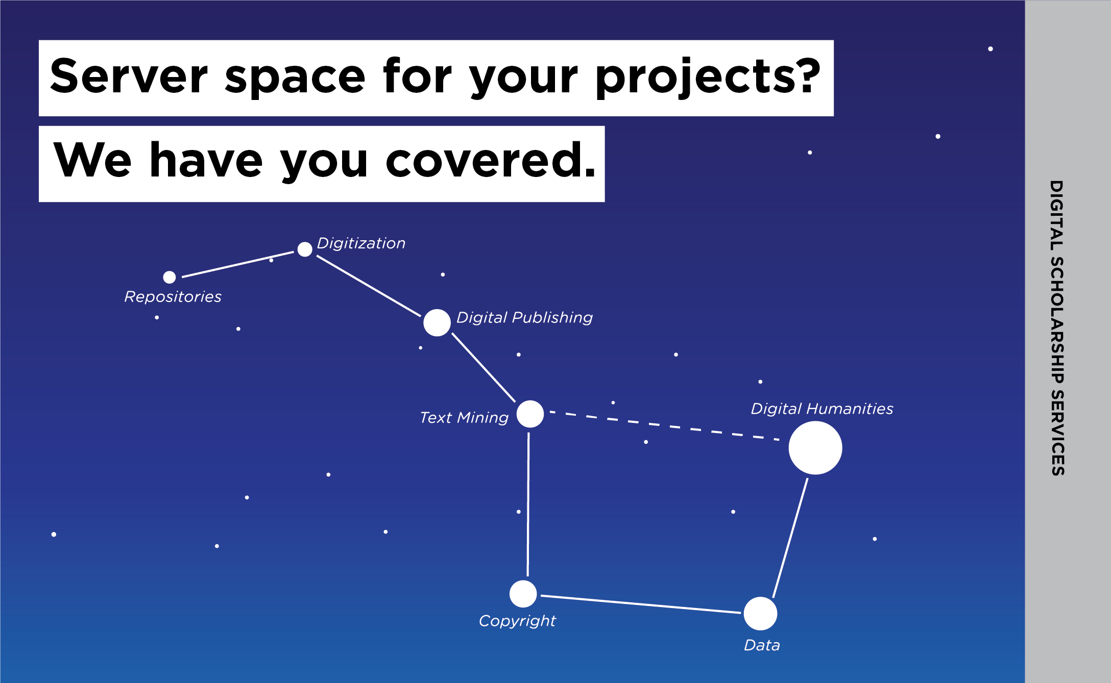 Need server space for your projects? We have you covered through Digital Scholarship Services.
