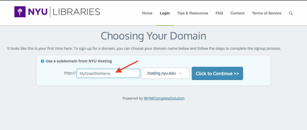 Choose your site name carefully as this cannot be changed.